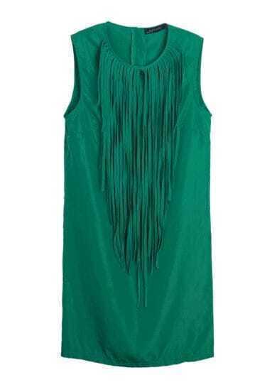 Tassel Solid Slim Chiffon Tank Dress Green