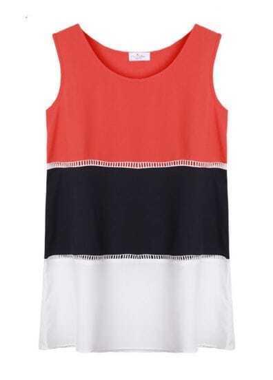 A-line Color Mtaching Chiffon Tank Dress