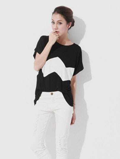 Black White Wave Stripe Short Sleeve T-shirt