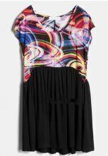 Print Tshirt Pin Black Sweep Dress