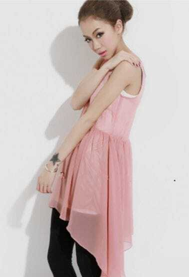 Pink Irregular Sweep Tank Chiffon Dress