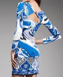 Printed Blue Special Back Knee Dress