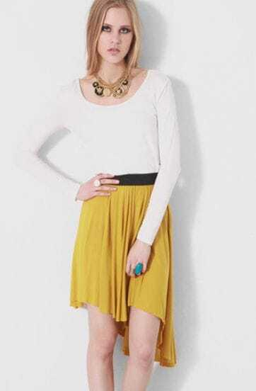 Yellow Irregular Sweep Cotton Above The Knee Skirt