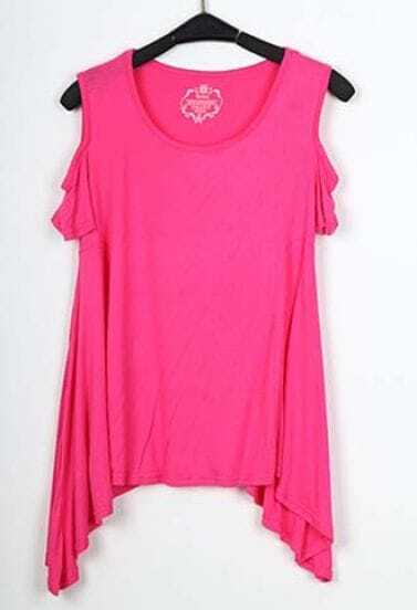 Pink Round Neck Cut Out Shoulder Hanky Hem T-shirt