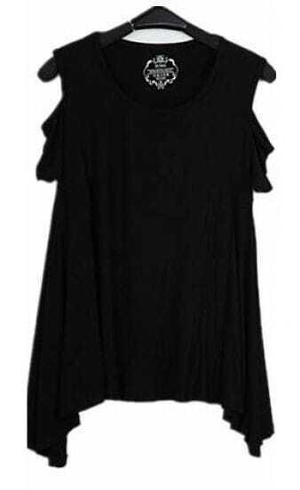 Black Round Neck Cut Out Shoulder Hanky Hem T-shirt