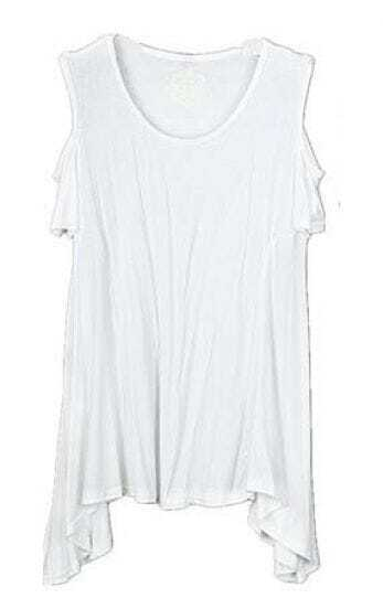 White Round Neck Cut Out Shoulder Hanky Hem T-shirt