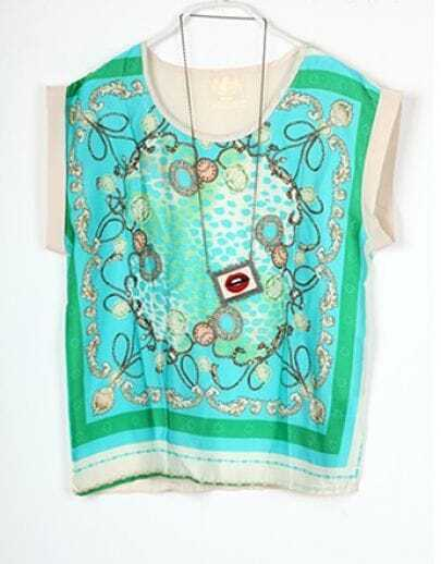 Green Scarf Printed Round Neck Roll Sleeve Silk T Shirt