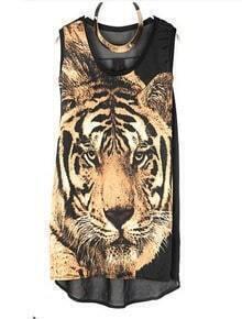 Vintage Tiger Printed Round Neck Sleeveless Black Chiffon T Shirt