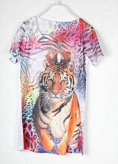 Vintage Tiger Printed Round Neck Short Sleeve T Shirt