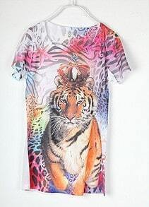 Vintage Tiger Printed Round Neck Short Sleeve T Shirt