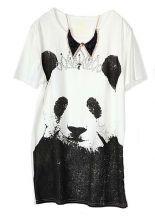 Vintage Cartoon Panda Printed White Round Neck Short Sleeve T Shirt