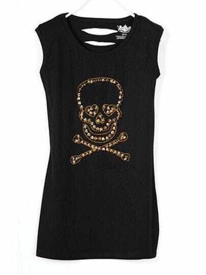 Black Rivet Rhinestone Skull Round Neck Sleeveless Back Cut Out T-shirt