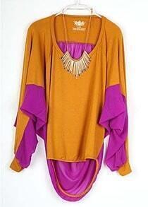 Mustard Long Sleeve Contrast Pleated Pink Chiffon Back T-shirt