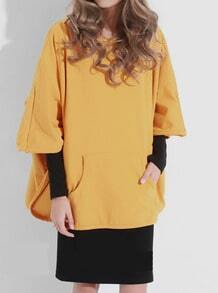 Yellow Brief O Neck Capes Fashion Outwear