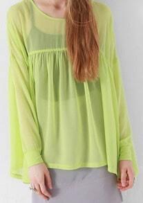 Yellow Round Neck Long Sleeve Chiffon Shirt