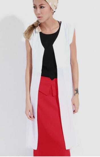 White Suiting Patchwork Chiffon Waistcoat Shirt