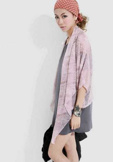 Grey Left Front Cardigan Half Sleeve Chiffon Shirt