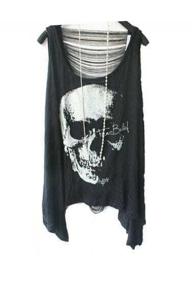 Black Skull Print Tassel Back Asymmetric Hem Tank Vest