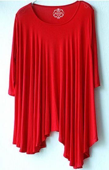 Red Round Neck Half Sleeve Amysmmetric Umbrella Hem T-shirt