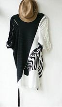 White Ripped Short Sleeve Side Tassel Zebra Print T-shirt