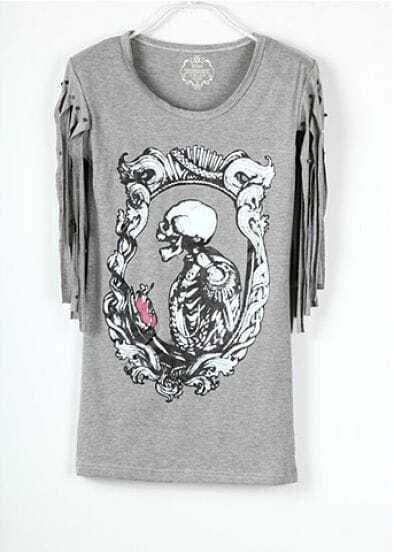 Grey Skeleton Printed Studded Tassel Sleeve T Shirt