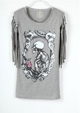 Grey Skeleton Printed Studded Tassel Sleeve T Shirt