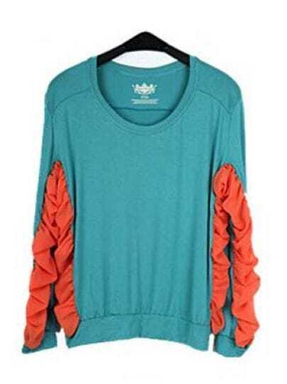 Blue And Orange Pleated Round Neck Chiffon Long Sleeve T Shirt
