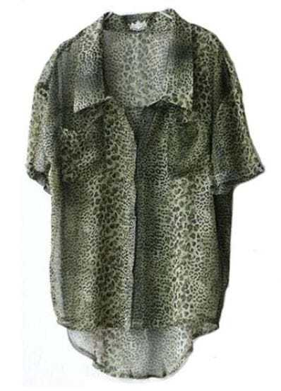 Green Leopard Vintage Lapel Short Sleeve Chiffon Irregular Shirt