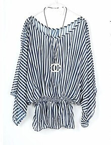 Striped Vintage Printed Round Neck Half Sleeve Off The Shoulder Shirt
