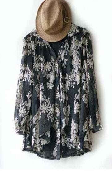 Vintage Black Floral Lapel Long Sleeve Chiffon Shirt