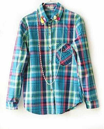 Vintage Blue Plaid Beading Lapel Long Sleeve Shirt