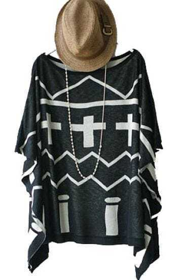 Black Cross Stripe Vintage Loose Round Neck Bat Wing Sleeve Shirt