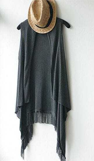 Grey Asymmetrical Tassel Round Neck Tank Shirt
