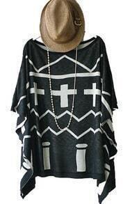 Black Cross Stripe Vintage Loose Round Neck Bat Wing Sleeve Shirt