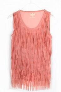 Pink Orange Tassel Chiffon Round Neck Tank Shirt