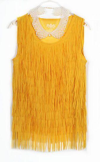 Yellow Tassel Chiffon Round Neck Tank Shirt