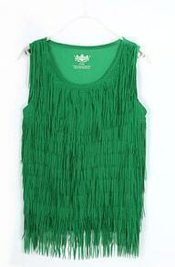 Mint Green Tassel Chiffon Round Neck Tank Shirt