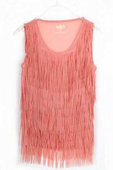 Pink Orange Tassel Chiffon Round Neck Tank Shirt