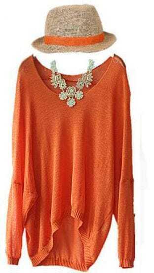 Orange Transparent Joker Round Neck Long Sleeve Shirt