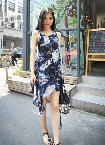 Blue Printed Round Neck Sleeveless Irregular Chiffon Dress