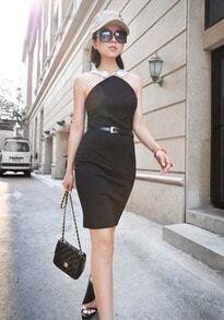 Back Zippered Halter Black Sleeveless Slim Dress
