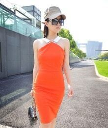 Back Zippered Halter Orange Sleeveless Slim Dress