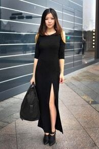Beading Black Round Neck Long Sleeve Off The Shoulder Dress