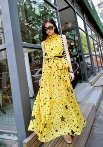 Yellow Star Printed Turtleneck Sleeveless Chiffon Dress