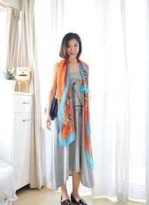 Grey Letters Printed Round Neck Sleeveless Cotton Dress
