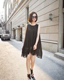 Black Round Neck Sleeveless Solid Loose Chiffon Dress