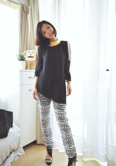 Black Round Neck Long Split Sleeve Solid  Chiffon Shirt