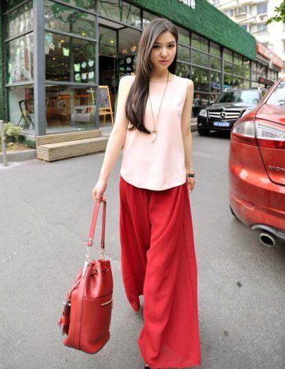 Solid Pink Round Neck Sleeveless Simple Chiffon Shirt