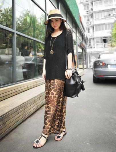 Leopard Elasic Waist Loose Chiffon Pants