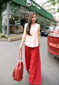 Red Elasic Waist Loose Chiffon Pants